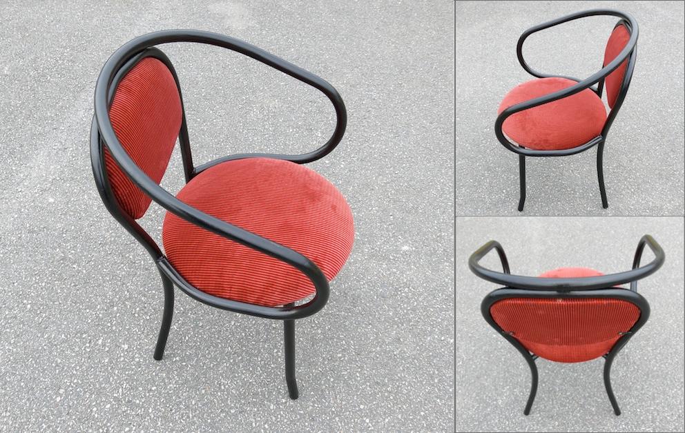 chaises fauteuil thonet 209 210 metal velour rouge