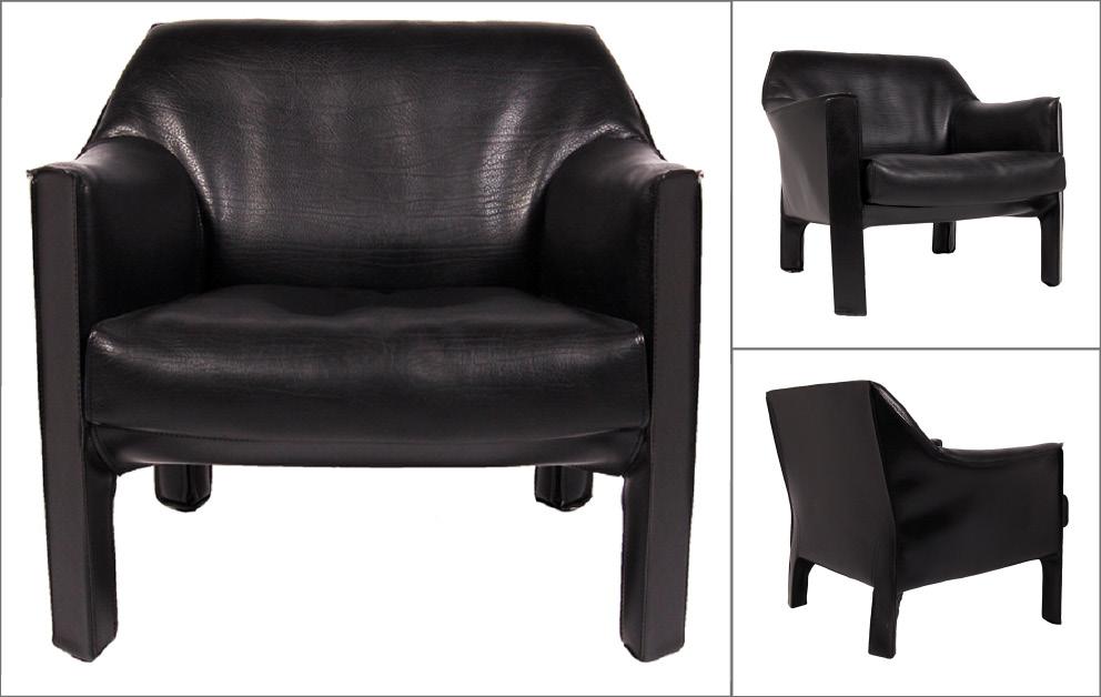 paire fauteuils cuir noir Bellini