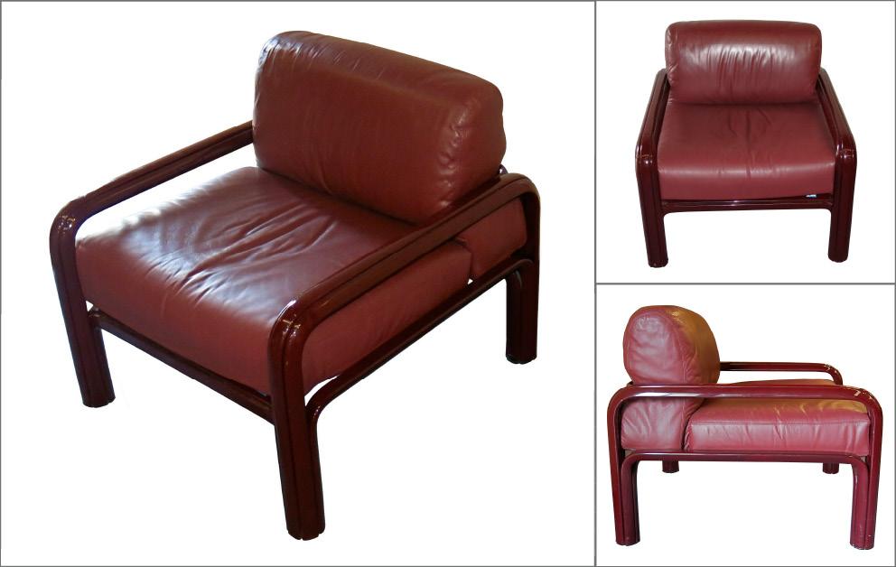 paire fauteuils Gae Aulenti cuir bordeaux