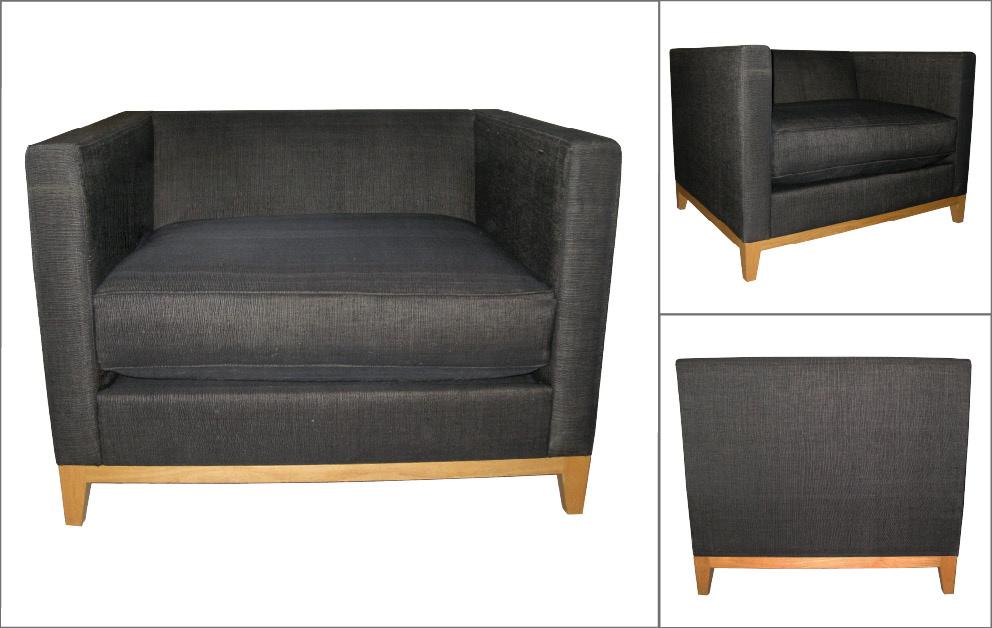 fauteuil tissus gris pieds bois