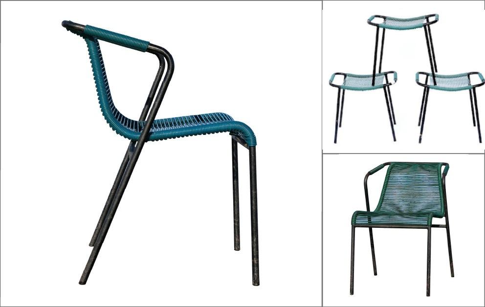 paire fauteuils Hitier scoubidou