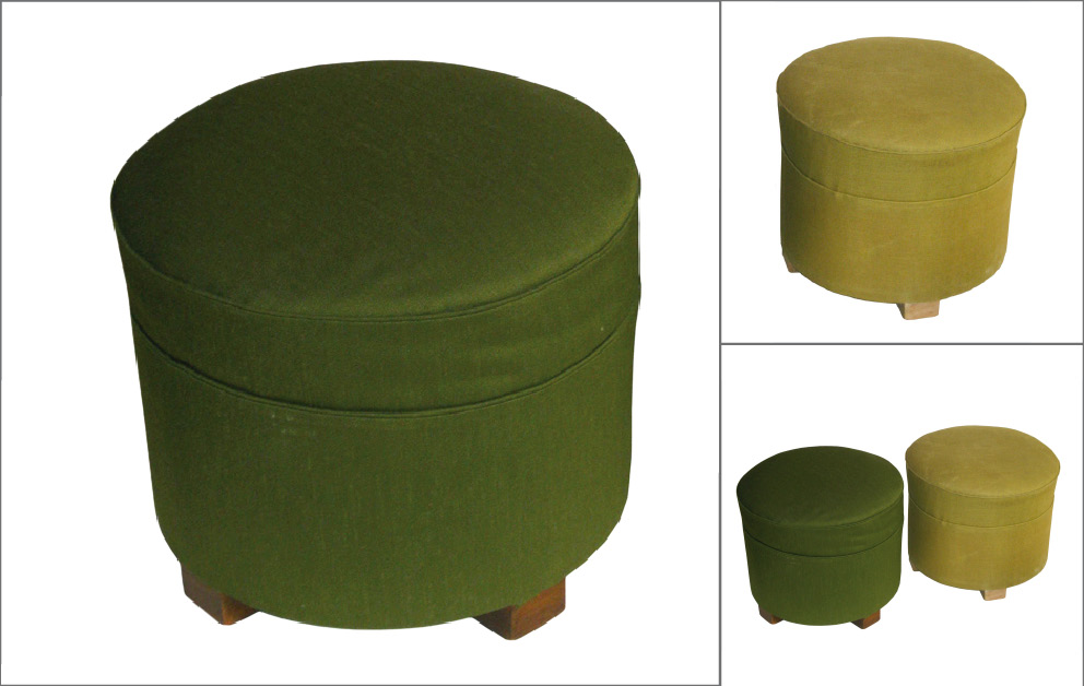 paire poufs vert